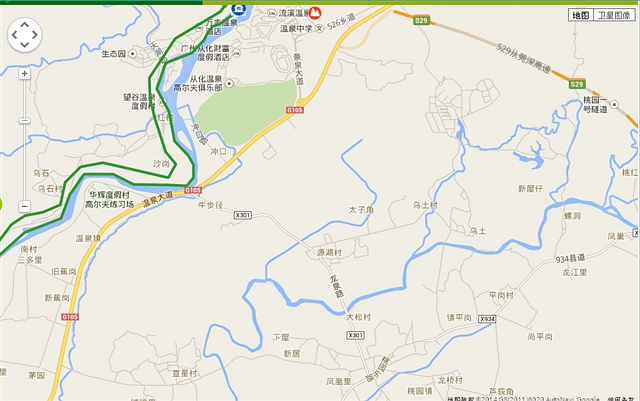 广东绿道从化这一段在地图上画得非常不精确